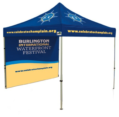 Eurmax Pro 10 X 10 Ez Pop Up Canopy Alumium Folding Party Event Tent Custom Printed With One Wall And Roller Bag front-863649