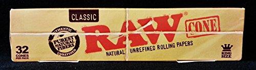 Raw-Classic-Natural-Unrefined-King-Size-PreRolled-Rolling-Paper-Cones-32-Per-Box