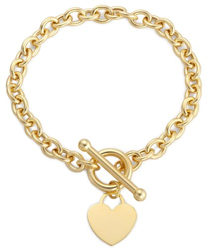Heart Tag Bracelet, 9ct Yellow Gold, 18cm Length, Model 1.24.1471