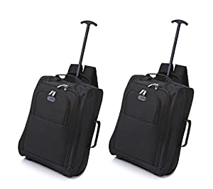 Set of 2 Super Lightweight Cabin Approved Luggage Travel Wheely Suitcase Wheeled Bags 1.65k - 42 Litres (Black Plain Backpack Style)