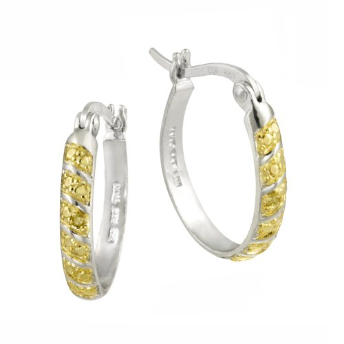 Sterling Silver Yellow Diamond Hoop Earrings