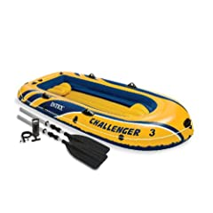 Buy Intex Challenger 3 Inflatable Boat with Oars - Three Man Blow Up Raft by Intex
