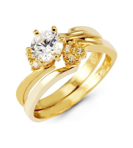 Bridal Set 14k Solid Gold Band Round CZ Wedding Rings