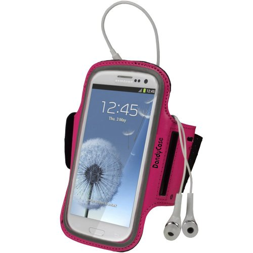 Dandycase Non-Slip Protective Gym Jogging Sports Armband Case Cover For Htc One (Also Fits One X, One X+) (Hot Pink)