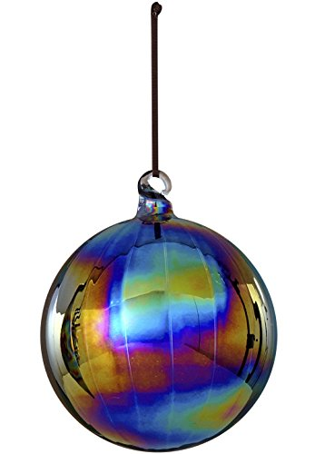 Sage & Co. XAO13887BK Iridescent Ball Ornament, 4.75-Inch, Black