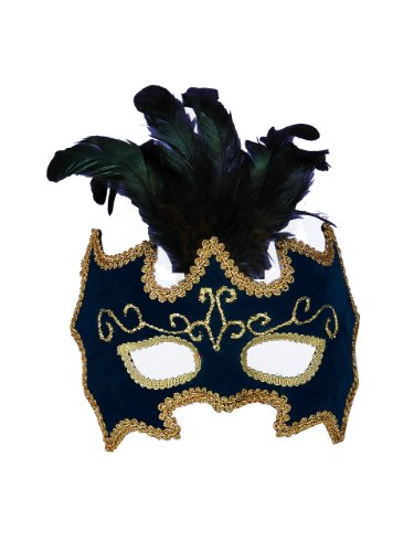Forum Mardi Gras Costume Masquerade Half Mask With Feathers and Gold Trim, Multicolor, One Size