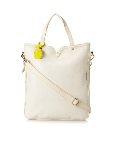 Nila Anthony Women's Tall Tote with Contrast Color Luggage Tag, Bone