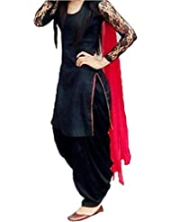 S R FASHION BLACK DRESS WITH RED DUPATTA