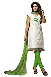 Fashions World Fancy White Chanderi Dress Material