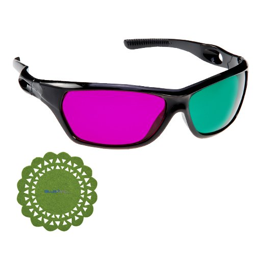 GTMax Anaglyph style 3D MAGENTA/GREEN Glasses