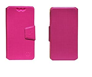 J Cover Reba Series Leather Pouch Flip Case With Silicon Holder For Xolo A1000 Pink