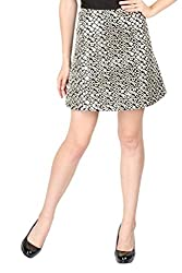 Aaliya Woman Cotton Ottoman Mini Party Skirt - Black||Silver, XS
