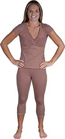 Womens Cotton Shiny Décor V-neck top and Capri - loungewear/PJ/pajama set - Colors Available - brown/large