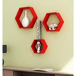 Onlineshoppee Fancy 3 Pcs Hexagonal Wooden Wall Shelf Size(LxBxH-8x28x25) Cm, Color-Red