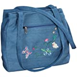 Miles Kimball Three Section Embroidered Denim Handbag