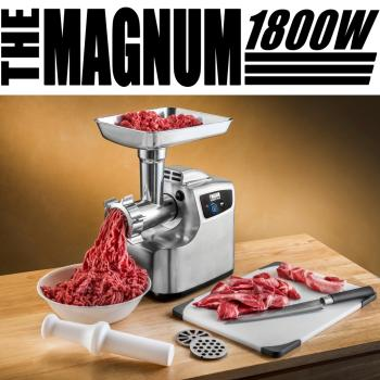 STX INTERNATIONAL STX 1800 MG Magnum Patented Air Cooled Electric Meat Grinder and Tomato Juicer with 3 Cutting Blades, 3 Grinding Plates, Kubbe and Sausage Tubes%