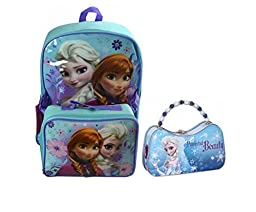 Disney Frozen Elsa and Anna Back Pack and Lunch Box with Frozen Tin Purse Set