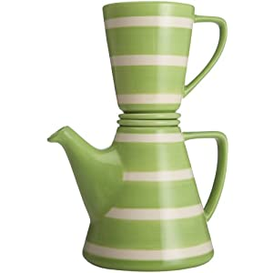 Signature Afternoon 4-Piece Tea-for-One Set, Green and White Stripe
