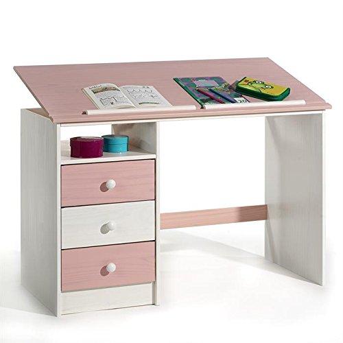 Kinderschreibtisch Schülerschreibtisch KEVIN, weiß/rosa, neigungsverstellbar online kaufen