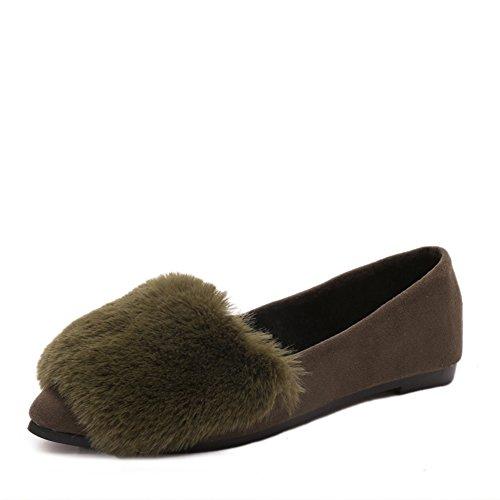 Autunno punte scarpe fagiolo/ pelliccia scarpe/Fondo piatto tacco piatto scarpe/ Scarpe coreane con la paletta-D Longitud del pie=22.3CM(8.8Inch)