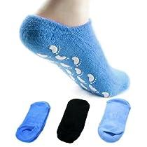 kilofly Non-Skid Soft Cotton Gripper Socks [3 Pairs Set, Black, Blue & Navy]