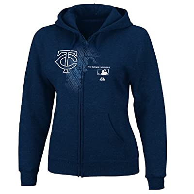 MLB Minnesota Twins Women's Change Up Full-Zip Hooded Fleece Jacket, Navy