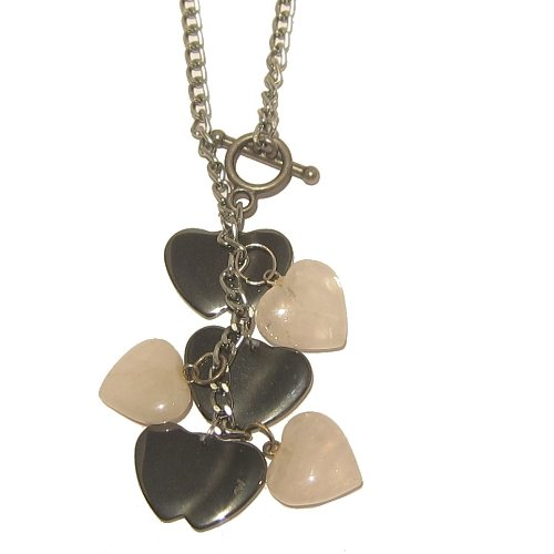 Hematite Necklace 05 Chain Rose Quartz Heart Dangle Crystal Stone Healing 18