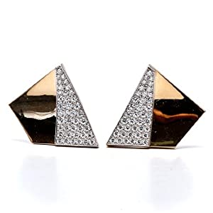 Estate Retro 6.50cts Diamond Platinum 18K Gold Earrings