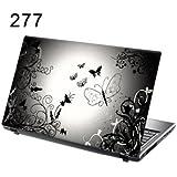 """15,6"""" Autocollants pour ordinateur portable papillons en noir et blanc"""