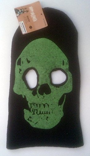 Halloween Black Ski Mask with Green Skull Face