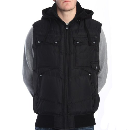 Brave Soul Division Black Hooded Gilet BLACK S