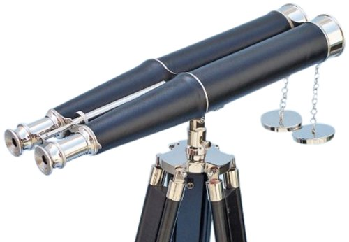 "Handcrafted Nautical Decor Floor Standing Admiral'S Chrome/Leather Binoculars On Stand, 62"", Chrome"