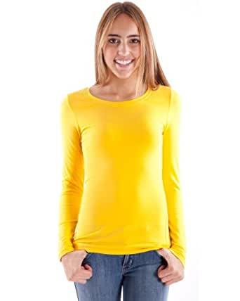 Yellow Ladies Crew Neck Long Sleeve T-Shirt