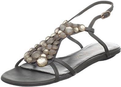 Lola Cruz Women's 092Z10BK Flat Sandal,Gris Oscuro,36 EU/6 M US