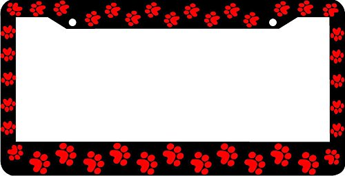Red Paw Prints License Plate Frame