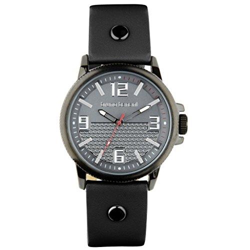 Bruno Banani Men's Watch Prios Leather Bracelet Grey Quartz Clock Dial Anthracite Grey Silver Trend UBR30026