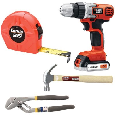 NONE 815825014244 Do It Yourself Kit With Drill Hammer Pliers And Tape Measure