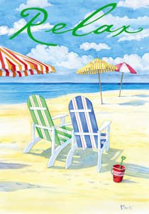 Relax Beach Vacation Adirondack Chairs Large Flag