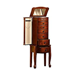 floor standing 6 drawer jewelry armoire with On standing mirror jewelry armoire amazon
