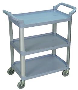 3-Shelf Serving Cart (Gray) (36.75H x 33.5W x 16.75D) by Luxor