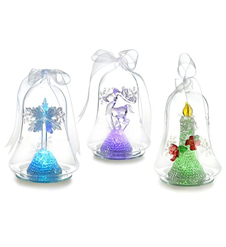 Youseexmas Set Of 3 Handblown Light Up Christmas Glass Ornament With Timer