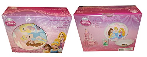 Disney Princesses 3 Piece Porcelain Dinnerware Set Plate, Bowl, and Juice Glass