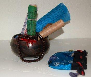 Tibetan Singing Bowl Prayer Flags Mala Gift Set