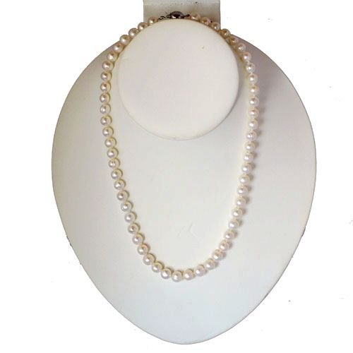 White 7.5-8.0mm A Quality Freshwater Cultured Pearl Necklace 17 inch