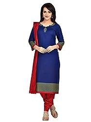 Shonaya Blue Colour Poly Cotton Printed Unstitched Dress Material