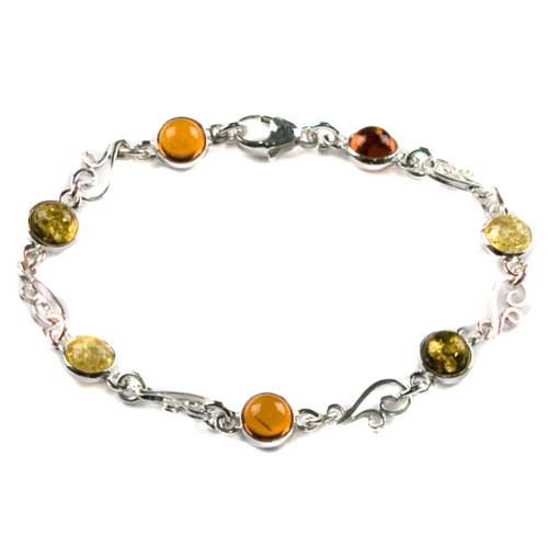 Multicolor Amber and Sterling Silver Tiny Bracelet, 7