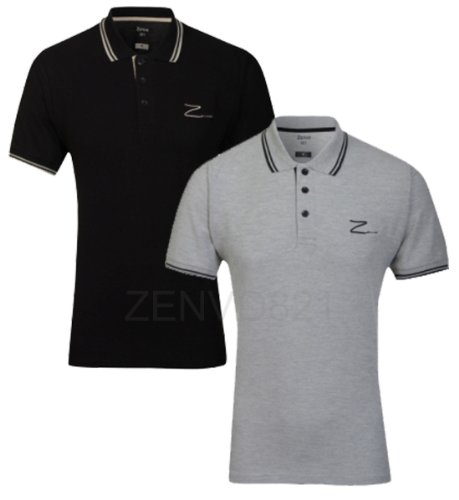 Mens Zenvo-821 '2 Pack' Polo T-Shirts Short Sleeved Signature and Graffiti range (Black/Grey Medium)