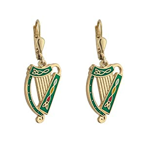 harp earrings gold plated green made