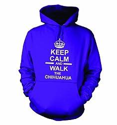 Keep Calm And Walk The Chihuahua Hooded Sweatshirt Hoody In Purple