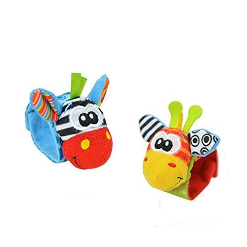 GenialES 2pcs bambino giocattoli morbido cotone cute cartoon Wristband Sonagli Giocattolo 0-24m multicolore taglia unica